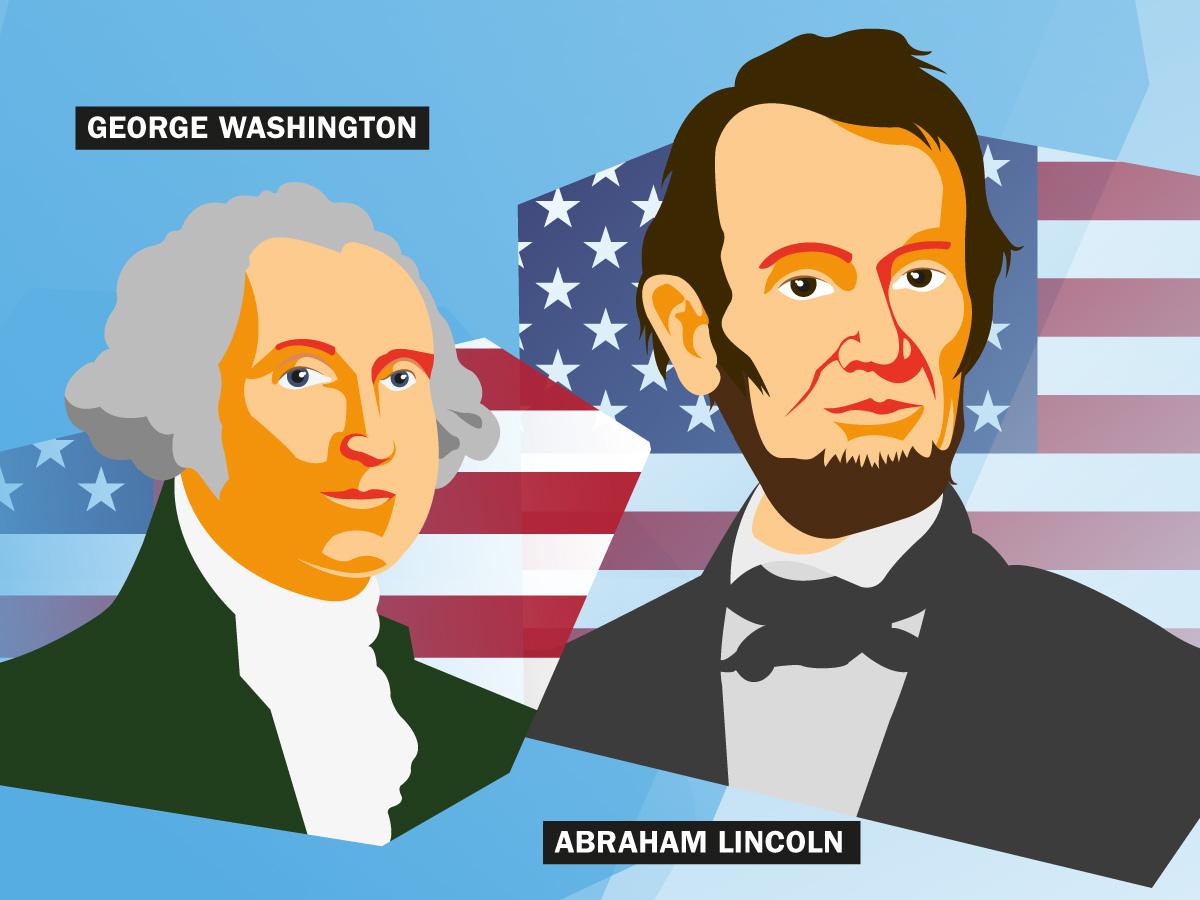 George Washington und Abraham Lincoln