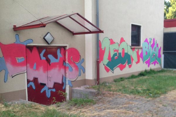 Diese Graffitis entstanden im Rahmen des Künstler-Workshops auf FRANKLIN.